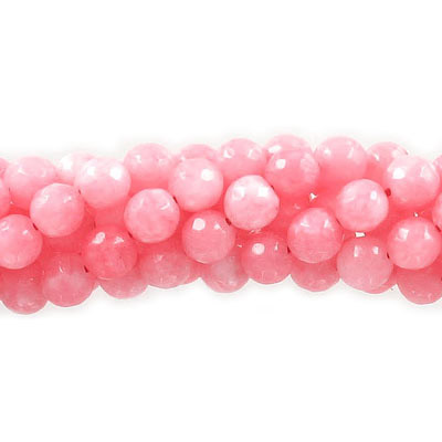 Semi-precious round beads, faceted, 8mm, strawberry jade, approx. hole size 1-1.20mm, 16 inch strand