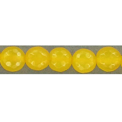 Semi-precious faceted beads, 8mm, yellow fire agate, 15.5 inch strand