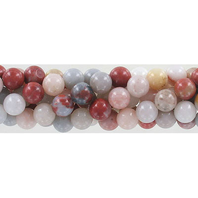 Semi-precious round beads, 8mm, approx. hole size 1-1.20mm, multi colored agate, 16 inch strand