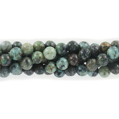 Semi-precious round beads, 8mm, African turquoise, approx. hole size 1-1.20mm, 16 inch strand