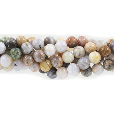 Semi-precious round beads, 8mm, bamboo agate, approx. hole size 1-1.20mm, 16 inch strand