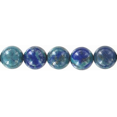 Semi-precious round beads, 8mm, blue/green lapis lazuli, dyed, 16 inch strand