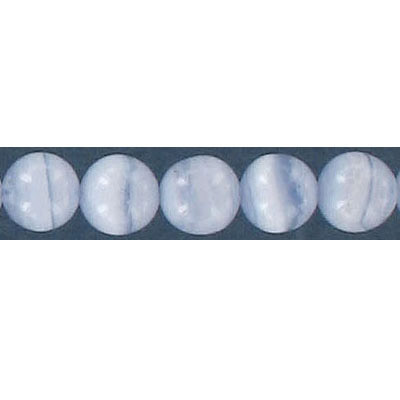 Semi-precious round beads, 8mm, blue lace agate, 16 inch strand