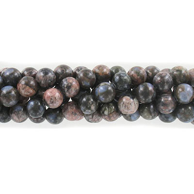Semi-precious round beads, 8mm, boulder opal, approx. hole size 1-1.20mm, 16 inch strand