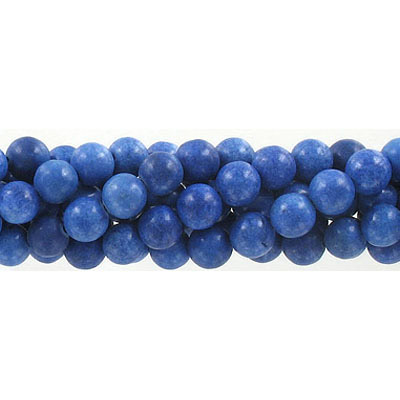 Semi-precious round beads, 8mm, pressed stone, blue, approx. hole size 1-1.20mm, 16 inch strand