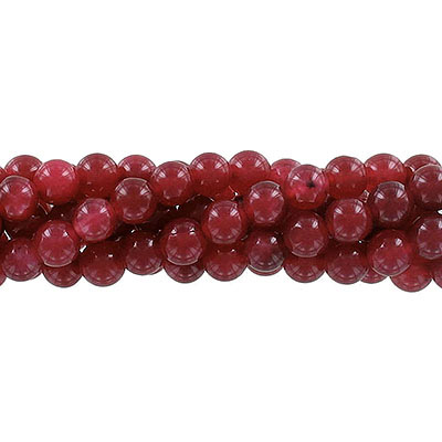 Semi-precious round beads, 8mm, burgundy jade (candy), approx. hole size 1-1.20mm, 16 inch strand