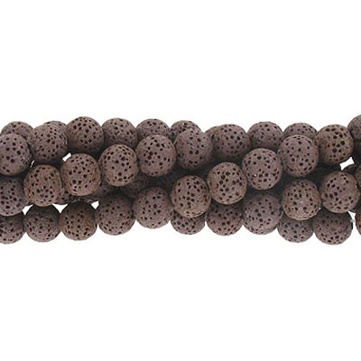 Semi-precious round beads, 8mm, coffee lava, approx. hole size 1-1.20mm, 16 inch strand