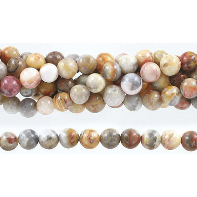Semi-precious round beads, 8mm crazy lace agate, approx. hole size 1-1.20mm, 16 inch strand