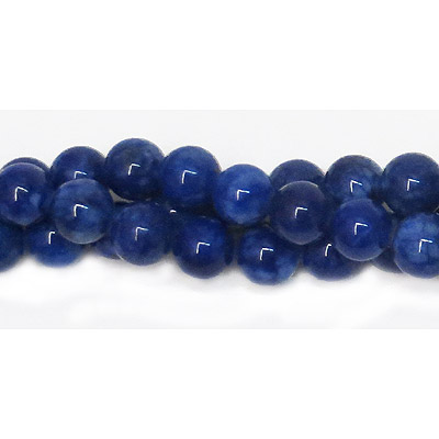 Semi-precious round beads, 8mm, dark blue candy jade, 16 inch strand