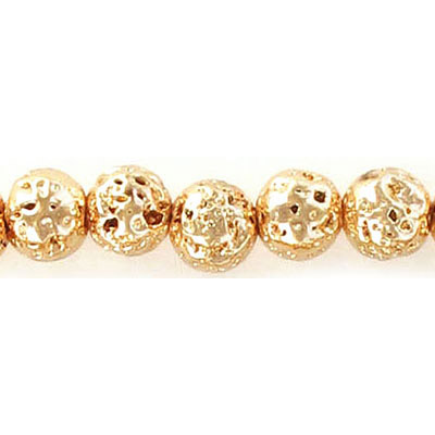 Semi-precious round beads, 8mm, gold plated lava, approx. hole size 1-1.20mm, 16 inch strand