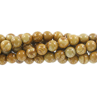 Semi-precious round beads, 8mm, gold lace agate, approx. hole size 1-1.20mm, 16 inch strand