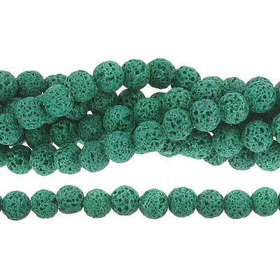Semi-precious round beads, 8mm, green lava, approx. hole size 1-1.20mm, 16 inch strand