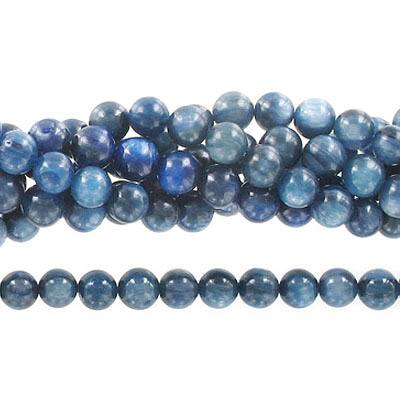 Semi-precious round beads, 8mm, kyanite, approx. hole size 1-1.20mm, 16 inch strand
