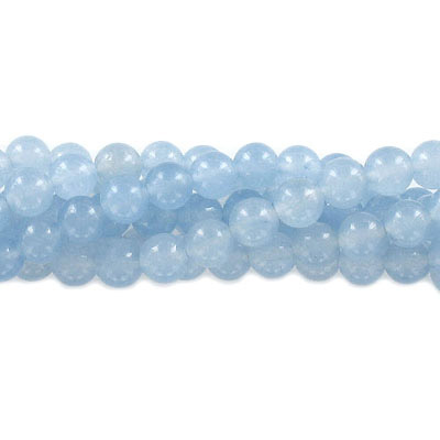 Semi-precious round beads, 8mm, light blue jade (candy), approx. hole size 1-1.20mm, 16 inch strand