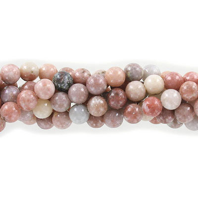 Semi-precious round beads, 8mm, lepidolite, approx. hole size 1-1.20mm, 16 inch strand