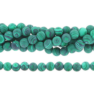 Semi-precious round beads, 8mm, matte new malachite, synthetic, approx. hole size 1-1.20mm, 16 inch strand