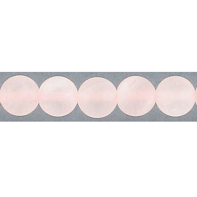 Semi-precious round beads, 8mm, matte rose quartz, 16 inch strand