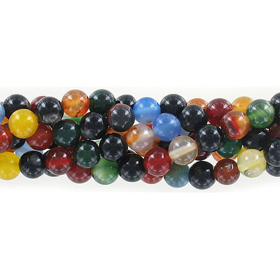 Semi-precious round beads, 8mm, multi-color agate, approx. hole size 1-1.20mm, 16 inch strand