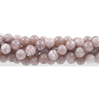 Semi-precious round beads, 8mm, old rose jade (candy), approx. hole size 1-1.20mm, 16 inch strand