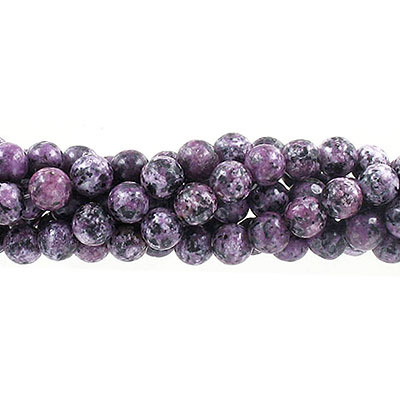 Semi-precious round beads, 8mm, purple fire jade (candy), approx. hole size 1-1.20mm, 16 inch strand