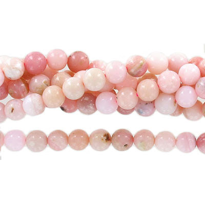 Semi-precious round beads, 8mm, pink opal, approx. hole size 1-1.20mm, 16 inch strand