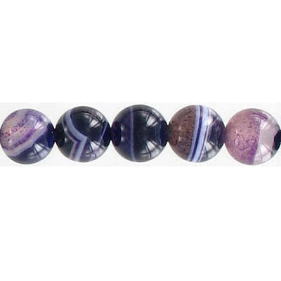 Semi-precious round beads, 8mm, purple agate, 16 inch strand