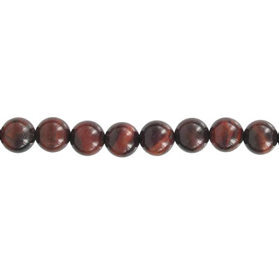 Semi-precious round beads, 16 strand, red tiger's eye, 8mm