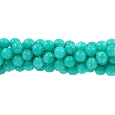 Semi-precious round beads, 8mm, sea green candy jade, approx. hole size 1-1.20mm, 16 inch strand