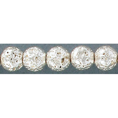 Semi-precious round beads, 8mm, silver plated lava, approx. hole size 1-1.20mm, 16 inch strand