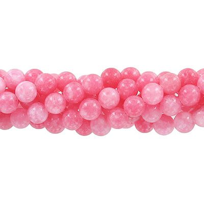 Semi-precious round beads, 8mm, strawberry jade (candy), approx. hole size 1-1.20mm, 16 inch strand