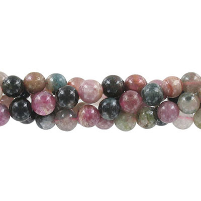 Semi-precious round beads, 8mm, tourmaline, approx. hole size 1-1.20mm, 16 inch strand