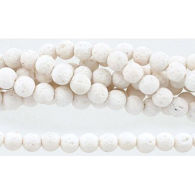 Semi-precious round beads, 8mm, white lava, approx. hole size 1-1.20mm, 16 inch strand