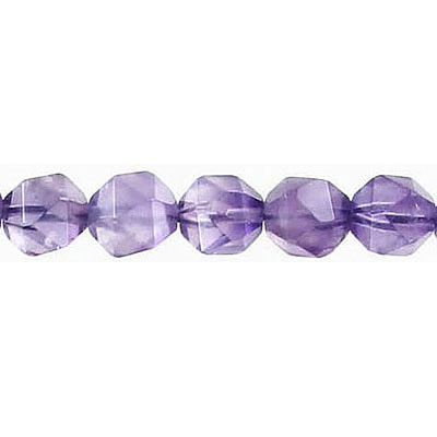 Semi-precious faceted triangulate beads, 8mm, amethyst, 16 inch strand