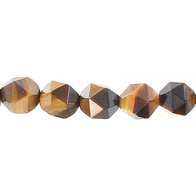 Semi-precious faceted triangulate beads, 8mm, tiger's eye, 16 inch strand