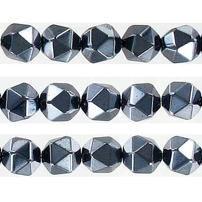 Semi-precious faceted triangulate beads, 8mm, hematite, approx. hole size 1-1.20mm, 16 inch strand