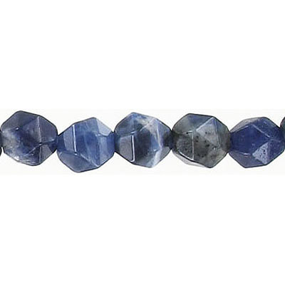 Semi-precious faceted triangulate beads, 8mm, sodalite, 16 inch strand