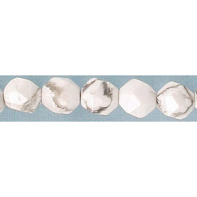Semi-precious faceted triangulate beads, 8mm, white howlite, approx. hole size 1-1.20mm, 16 inch strand