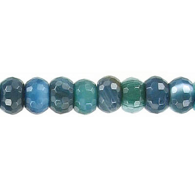 Semi-precious faceted beads, 8mm, rondelle, blue with white, agate, 16 inch strand