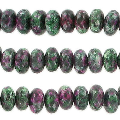 Semi-precious faceted beads, 8mm, rondelle, ruby zoisite (candy jade), synthetic, approx. hole size 1-1.20mm, 16 inch st
