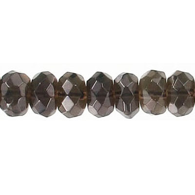 Semi-precious faceted beads, 8mm, rondelle, smoky quartz, 16 inch strand