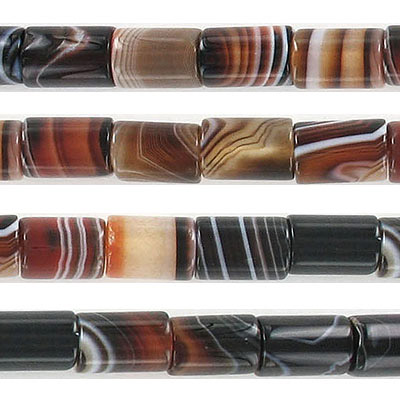 Semi-precious beads, 8x22mm, cylinder, black agate, approx. hole size 1-1.20mm, 16 inch strand
