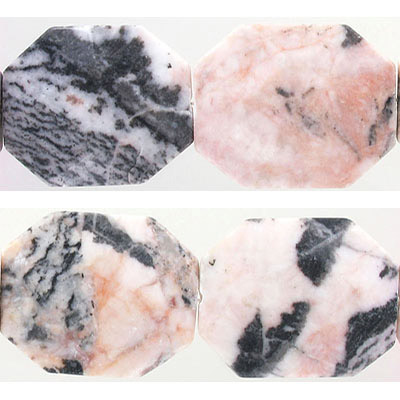 Semi-precious faceted beads, approx. 50x40mm, flat free form nuggets, pink zebra stone, approx. hole size 2mm, 16 inch