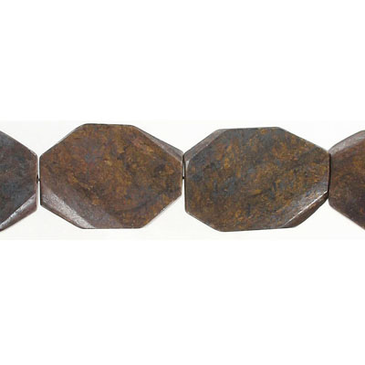Semi-precious faceted beads, freestyle, flat, bronzite, 16 inch strand