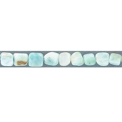 Semi-precious beads, mini nuggets, approx. 5-6mm, hole size approx. 1mm, larimar, 16 inch strand