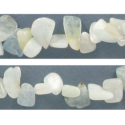 Semi-precious beads, nugget drops, aquamarine, approx. hole size 1.30-1.80mm, 16 inch strand