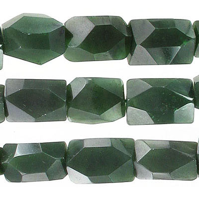 Semi-precious faceted beads, nuggets, nephrite jade, approx. hole size 1-1.20mm, 16 inch strand