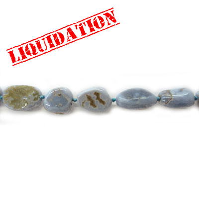 Semi-precious beads, nuggets, blue chalcedony, 16 inch strand