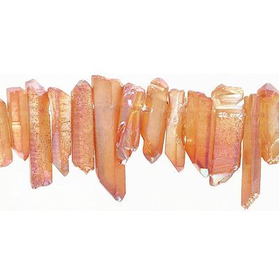 Semi-precious beads, top drilled points, crystal-orange, 16 inch strand