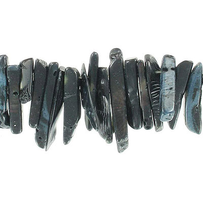 Semi-precious beads, 19-28mm, teeth drops, black coral, 16 inch strand