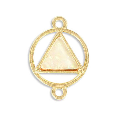 Connector, synthetic iridescent white shell, 25x18mm, triangle, zamak (zinc alloy), gold plate